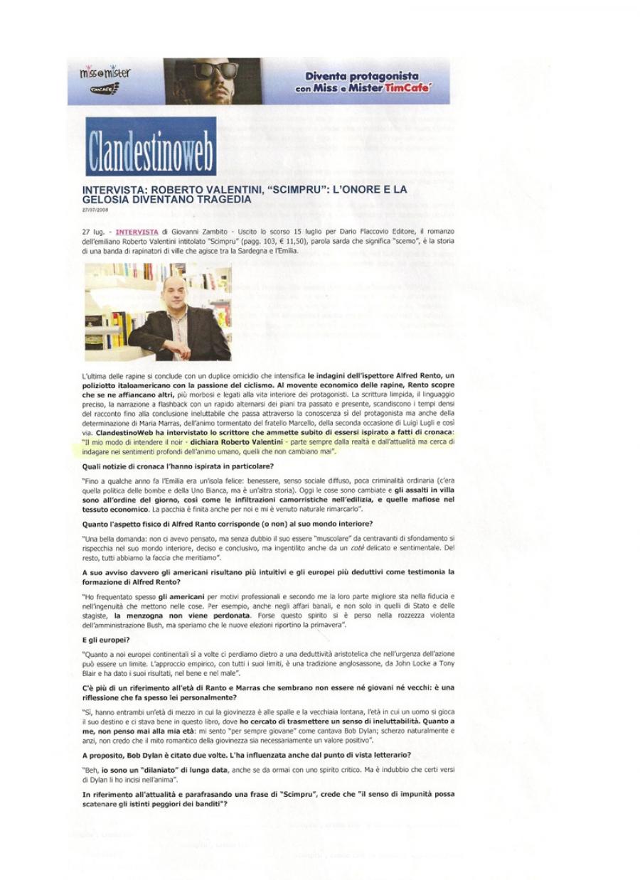 Giovanni Zambito, clandestinoweb.com, 27 luglio 2008