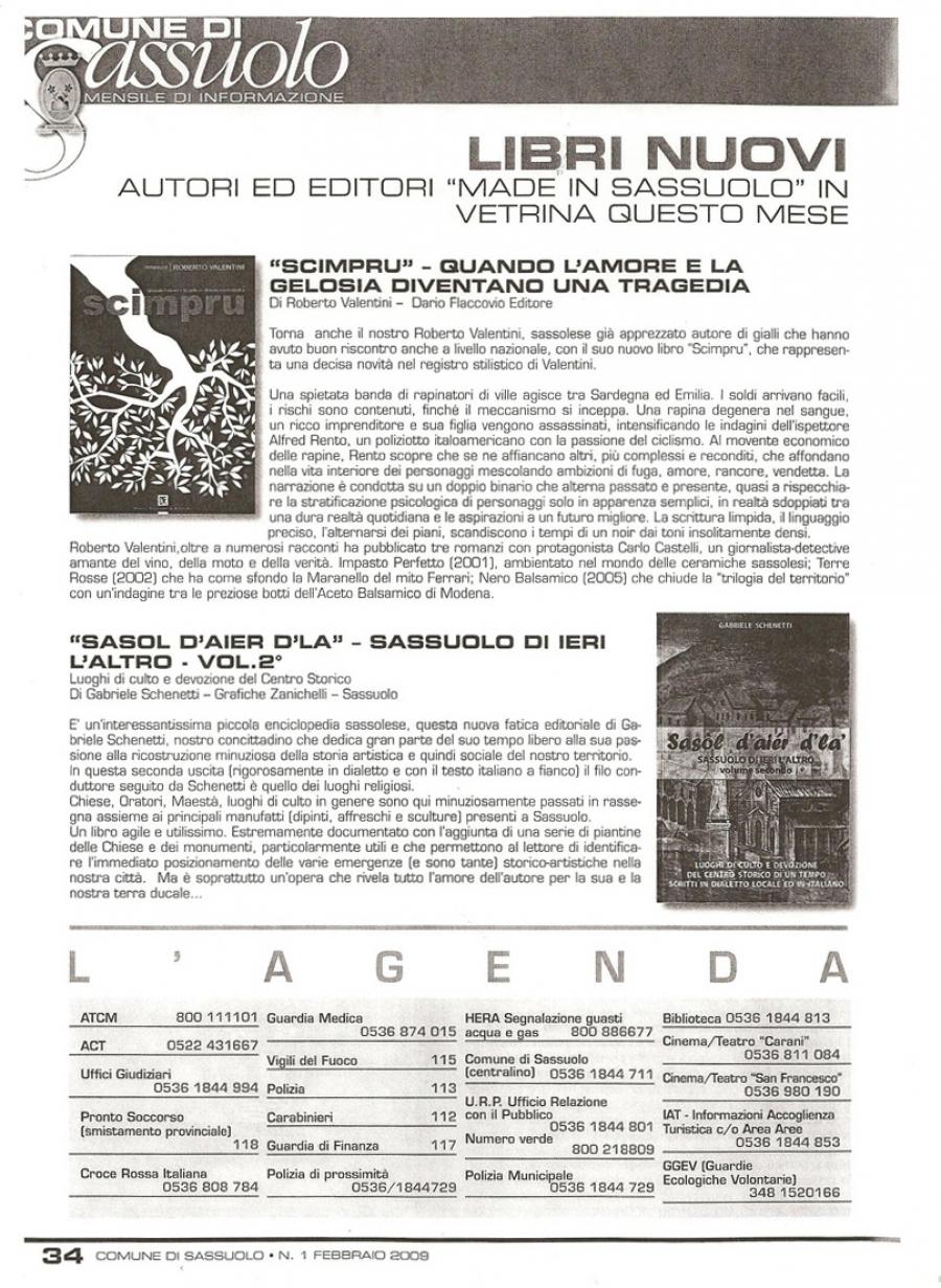 Corrado Roncaglia, Comune di Sassuolo, Mensile di informazione 1 febbraio 2009