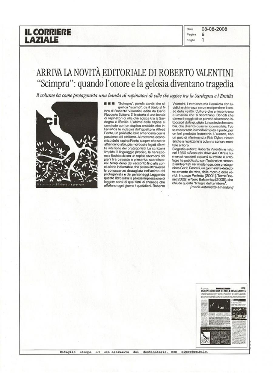 Maria Antonietta, Amenduni, Il corriere laziale 8 agosto 2008