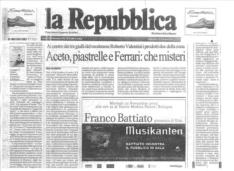 Valerio Varesi, La Repubblica, 22 novembre 2005