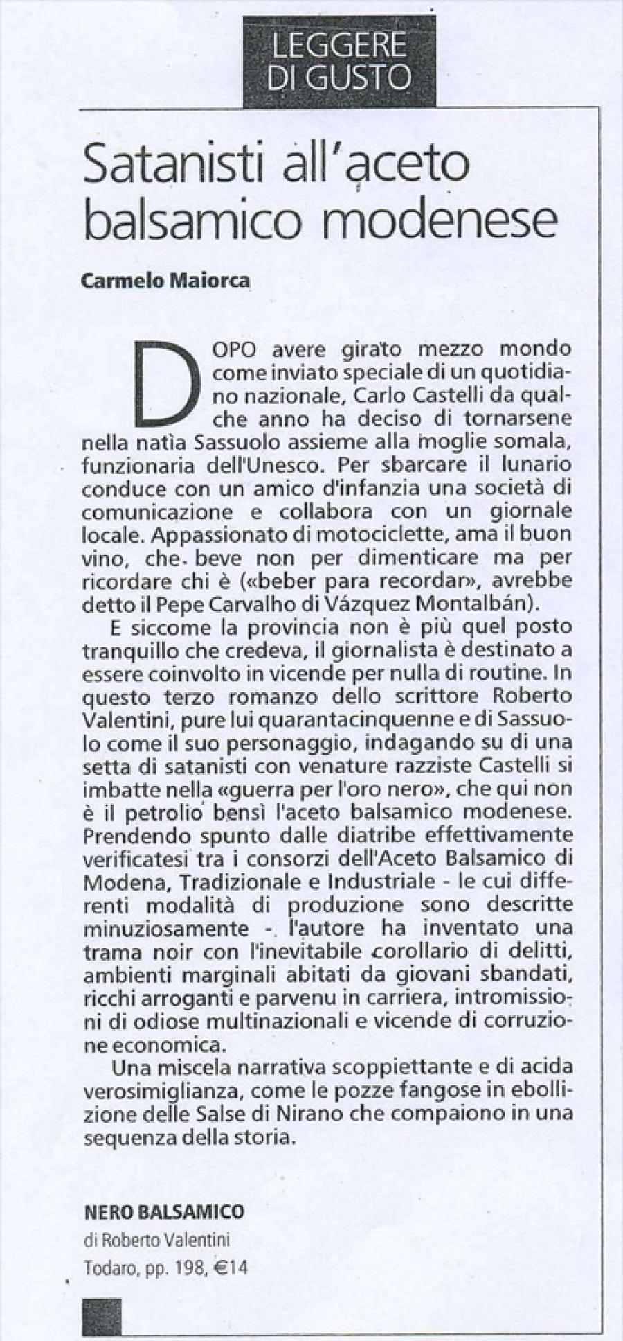 Carmelo Maiorca, La Stampa Tuttolibri, 17 maggio 2005