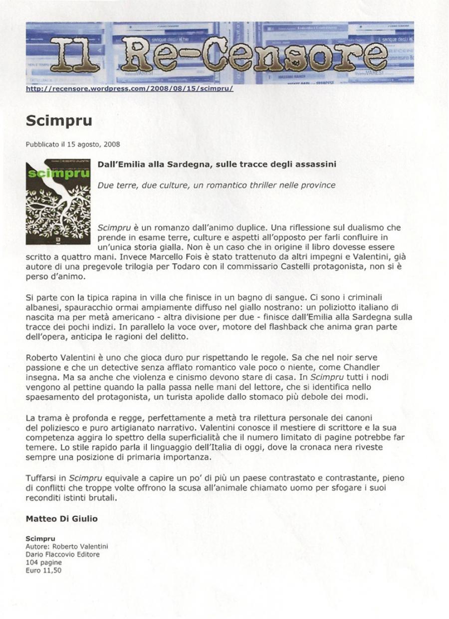 Matteo di Giulio, Recensore.wordpress.com, 15 dicembre 2008