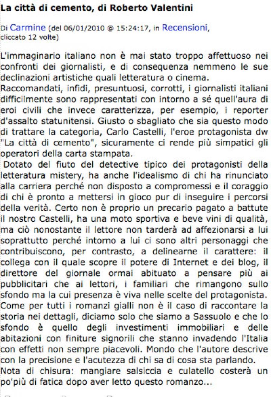 """Carmine Caputo, 6 gennaio 2010, su """"La città di cemento"""""""